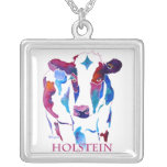 Holstein Cow in Purple & Blues Personalized Necklace