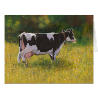 Holstein Cow in Sunny Pasture: Oil Pastel Painting Card