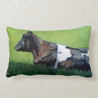 Holstein Cow Lying Down: Oil Pastel Painting Lumbar Pillow
