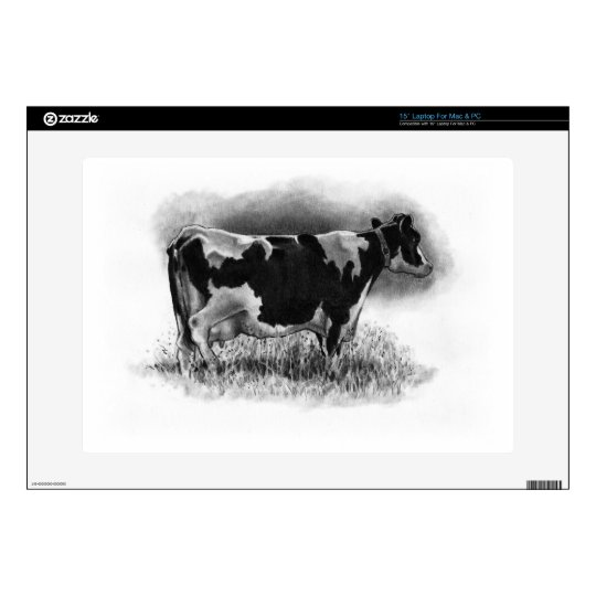 """Holstein Cow: Original Pencil Drawing: Dairy Decals For 15"""" Laptops"""