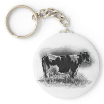 Holstein Cow: Original Pencil Drawing: Dairy Keychain