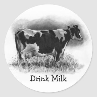 Holstein Cow: Original Pencil Drawing: Dairy Classic Round Sticker
