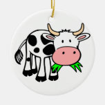 Holstein cow Double-Sided ceramic round christmas ornament