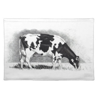 Holstein Cow: Pencil Drawing: Farm, Country Place Mat