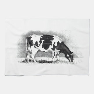 Holstein Cow: Pencil Drawing: Farm, Country Towel