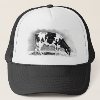 Holstein Cow: Pencil Drawing: Farm, Country Trucker Hat