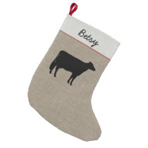 Holstein Cow Silhouette | Faux Linen Small Christmas Stocking