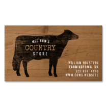 Holstein Cow Silhouette Rustic Style Business Card Magnet