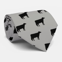 Holstein Cow Silhouettes Pattern Grey and Black Neck Tie