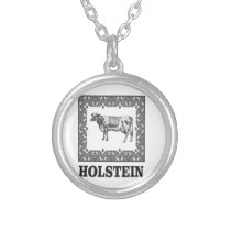 Holstein cow silver plated necklace