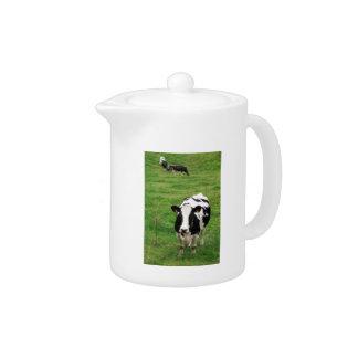 Holstein cow teapot