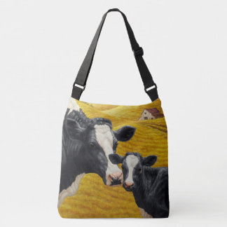 Holstein Cows and Old Wood Barn Crossbody Bag