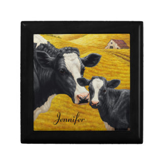 Holstein Cows and Old Wood Barn Keepsake Box
