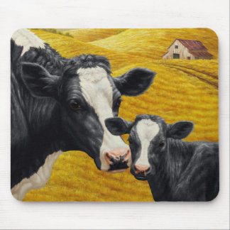 Holstein Cows and Old Wood Barn Mouse Pad