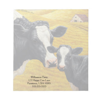 Holstein Cows and Old Wood Barn Notepad