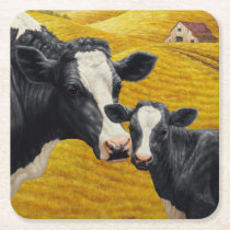 Holstein Cows and Old Wood Barn Square Paper Coaster