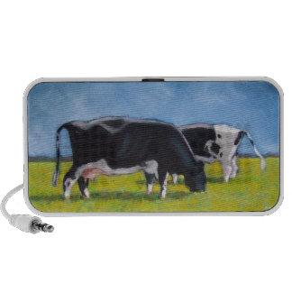 Holstein Cows Grazing: Pastel Painting: Dairy Farm Mini Speaker