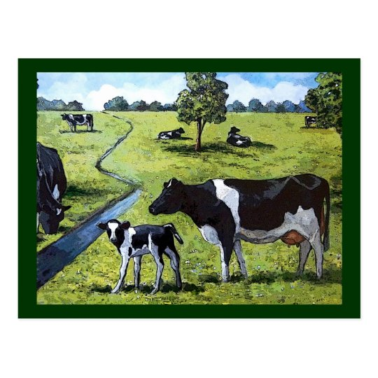 HOLSTEIN COWS IN PASTURE: Hand Painted Art Postcard