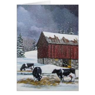 Holstein Cows in Snowy Barnyard: Original Painting Card
