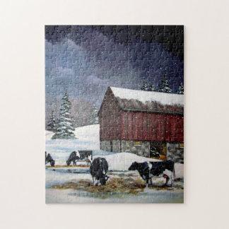 Holstein Cows in Snowy Barnyard: Original Painting Jigsaw Puzzle