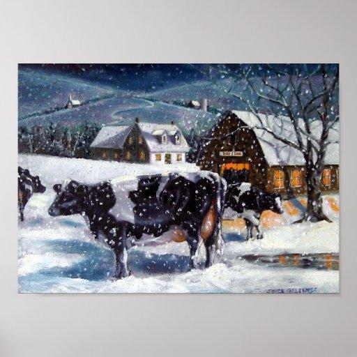 Holstein Cows: Winter Farm Scene: Fine Art Poster