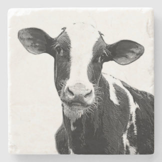 Holstein Dairy Cow Calf Black and White Stone Coaster