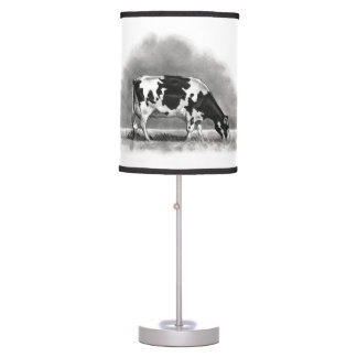 Pencil drawing table pendant lamps zazzle holstein dairy cow grazing pencil drawing desk lamp aloadofball Image collections