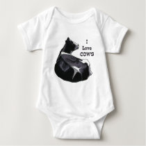 Holstein Dairy Cow: I Love Cows: Original Art Baby Bodysuit