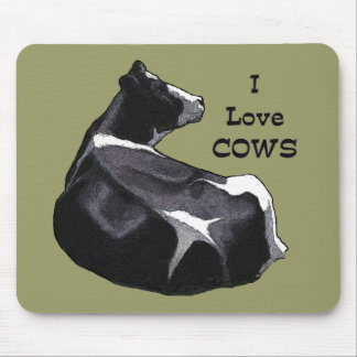 Holstein Dairy Cow: I Love Cows: Original Art Mouse Pad