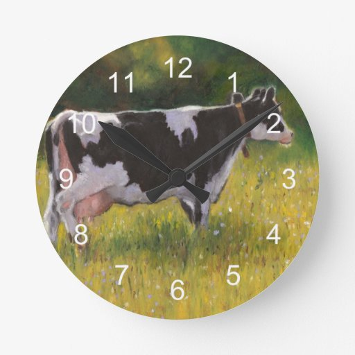 Holstein Dairy Cow: Oil Pastel Painting Wall Clock