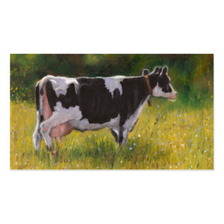 Holstein Dairy Cow: Oil Pastel Painting: Farm Double-Sided Standard Business Cards (Pack Of 100)