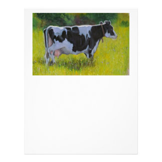 Holstein Dairy Cow: Oil Pastel Painting Letterhead