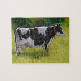 Holstein Dairy Cow: Oil Pastel Painting Puzzle