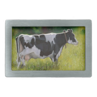 Holstein Dairy Cow: Oil Pastel Painting Rectangular Belt Buckle