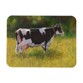 Holstein Dairy Cow: Oil Pastel Painting Rectangular Photo Magnet