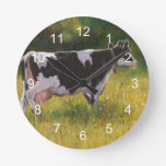 Holstein Dairy Cow: Oil Pastel Painting Round Clock
