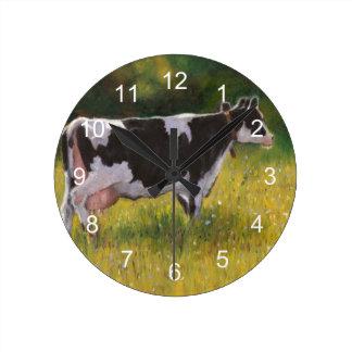Holstein Dairy Cow: Oil Pastel Painting Round Clock