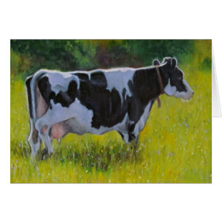 Holstein Dairy Cow: Original Oil Pastel Painting Card