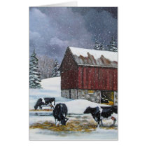 Holstein Dairy Cows in Winter, Snow, Painting, Art Card