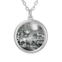 Holstein fresian cows fresian cows silver plated necklace