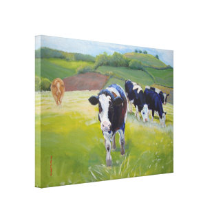 Holstein Friesian  Cows and Landscape Painting Canvas Print