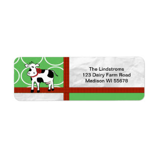 Holstein Holiday  Christmas Cow Cartoon Label