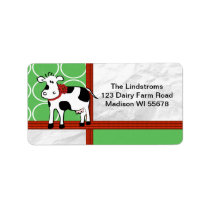 Holstein Holiday Cute Christmas Cow Cartoon Custom Label