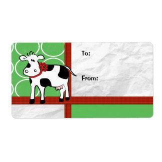 Holstein Holiday Cute Christmas Cow Cartoon Label