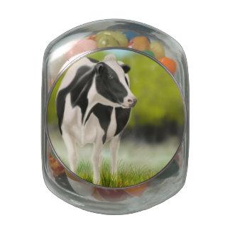 Holstein Milk Cow Candy Jar Glass Candy Jars