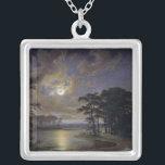 "Holstein Sea - Moonlight, 1847 Silver Plated Necklace<br><div class=""desc"">Holstein Sea - Moonlight,  1847 | by Johann Georg Haeselich | Art Location: Hamburger Kunsthalle,  Hamburg,  Germany | German Artist | Image Collection Number: XKH191673</div>"