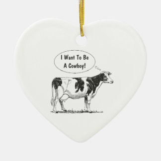 Holstein Thought Cow Customize It Ceramic Ornament
