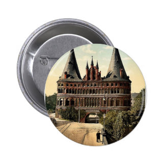 Holstengate, Lubeck, Germany classic Photochrom Pinback Button