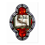 Holy Bible and Rosary Stained Glass Art Post Card