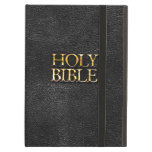 Holy Bible Christian Religion Faux Black Leather iPad Air Covers
